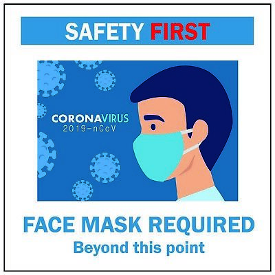 Face Mask Required Sticker – Reusable Sign Cling Sticker 5.5 Inch for Business