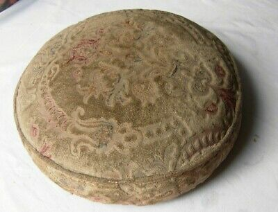 "Antique tapestry footstool / footrest or stool top - round  14"" x 4"""