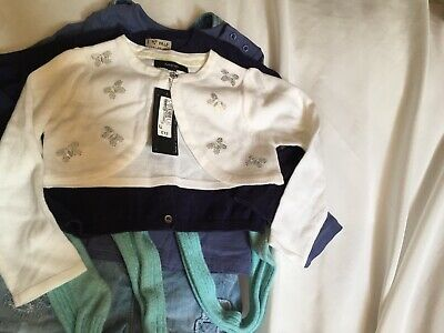 GIRLS BUNDLE OF FIVE - 1 TOP 2 CARDY'S SHORT DUNGAREES + TIGHTS  AGE 2-3 years