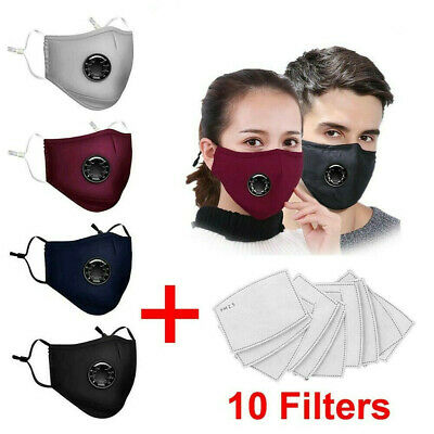 Washable Reusable PM2.5 Anti Dust Air Pollution Face Cover Shield & 10 Filters