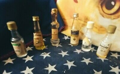 Lot Of 6 ,VERY RARE,Sealed Miniature Antique Liquor Bottles,,with volume...