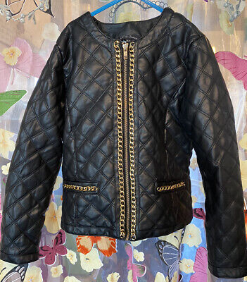 Girls Black Leather Look Jacket Leopard Print Lined Matalan Age 10-11 Years VGC