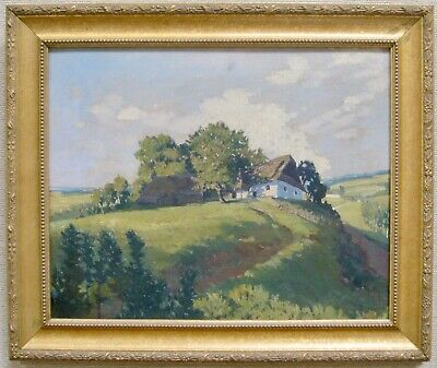 JAN HONSA Signed Vintage Oil Painting Landscape Countryside Cottage Listed Czech
