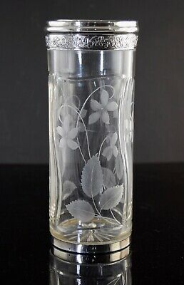 ANTIQUE FRENCH STERLING SILVER & ETCHED CUT GLASS VASE CHARLES HACK c1900