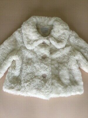 NEXT Girls Faux Fur Coat Age 7-8 Height 128cm Cream