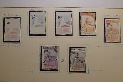 REPUBLICA DOMINICANA-1957 MNH Lord Burghley 5c Test Trial Print Proof