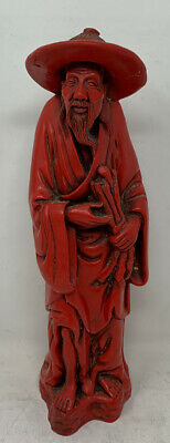 Antique Vintage Red Resin Or Soapstone Carved Old Chinese Elderly Man Figurine