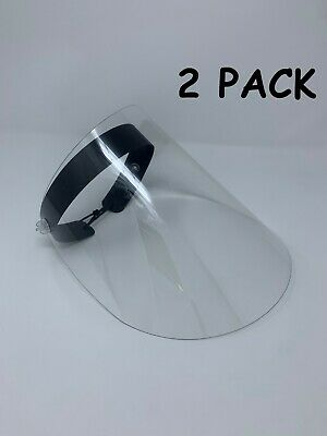2 PACK Premium Reusable Safety Face Shields Protect Face Mask Clear Vision,