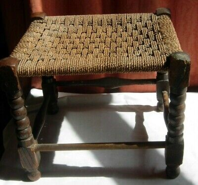 Vintage Oak stool with turned legs and rattan woven seat