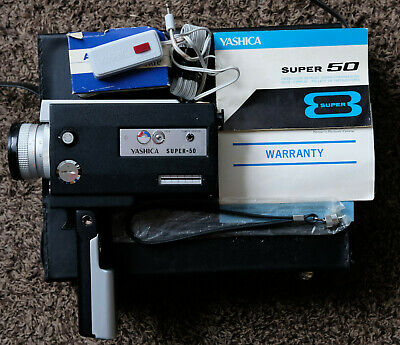 """Yashica """"Super 50"""" Super 8 Film Movie Camera with Case, Manual, Remote / Tested"""