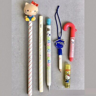 VTG HELLO KITTY Pencils LOT Toppers Mechanical Pencil Pen 1976 SANRIO STAT