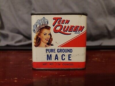 Vintage + RARE!!! 1 1/8 OZ. Teen Queen Pure Ground Mace spice tin; VG cond.