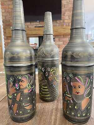 Antique Indian Metal Bottle Decor X3