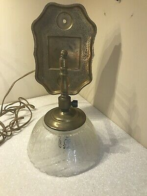 Vintage Brass Wall Sconce & Etch Glass Shade Light Fixture