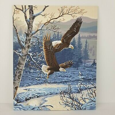 Completed Paint By Number Eagle Winter Snow PBN 20x16 Complete Rustic Cabin Art