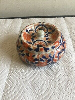 Early Imari Style  Round Covered Dresser Box  4 1/4""