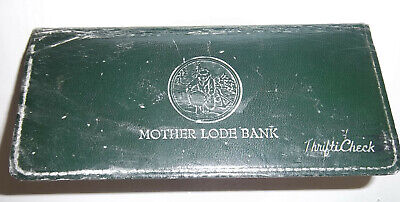 Placerville Hangtown Ca. 1962 Mother Load Green Leather Bank Book Thrifti Checks