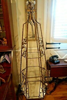 Vintage Etagere With Porcelain Flowers And Shelves Brass