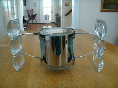 Rare Neesen Glass And Chrome Post Modern  Mid Century Sconce