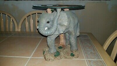 """African Elephant 12"""" Accent Table Resin with 11.5"""" Glass Top Wildlife Safari"""