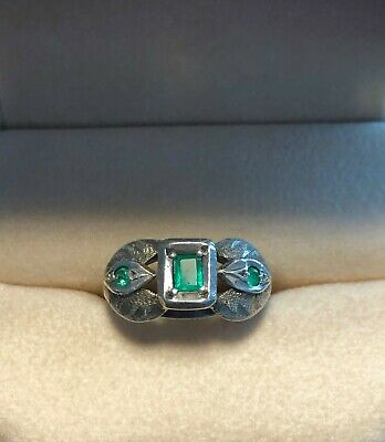 Art Deco Art Nouveau Antique Genuine Emerald Ring Cast And Fabricated Beautiful