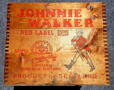 Vintage Wooden Johnny Walker Whiskey Crate, 1940s, w/Stamped & Painted Graphics!