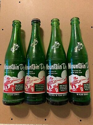 "Vintage Hillbilly Mountain Dew Soda Bottles 4 ""Filled/Bottled By Maw And Paw"""