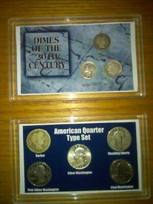 Silver 20th Century dime and Quarter type set