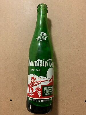 "VINTAGE HILLBILLY MOUNTAIN DEW 10oz NAMED SODA BOTTLE ""MAW-PAW"" ONLY NICE PAINT"
