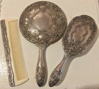 Vintage Silver Plated Vanity Set- Mirror, Brush, Comb