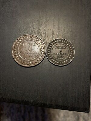1914 A TUNISIA TUNISIE 10 CENTIMES And 5 Centimes 1916 COIN  AFRICA