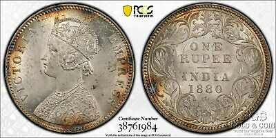 1880-C India British One Rupee SW-6.51 PCGS MS61 Silver Coin 17045