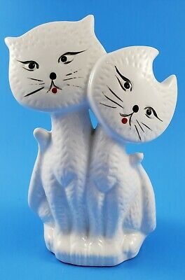 "Vintage Pottery~ Pair Of Porcelain White Cats Figurine 6"" Tall."