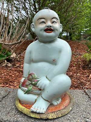 Large Chinese Carved Famille Rose Antique Porcelain Figurine Child