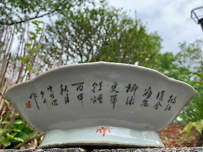 Large Chinese Oval Famille Rose Antique Porcelain Bowl Tongzhi Marked