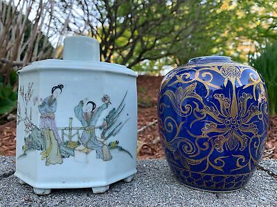 Group Of Two Chinese Antique Porcelain Tea Caddies