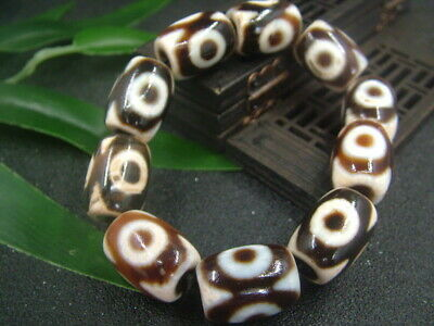 Chinese Antique Celadon Nephrite AGATE-A Jade Hollow 3-eyed Bracelets 070