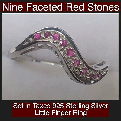 Nine Faceted Red Stones Set In Taxco 925 Sterling Silver Little Finger Ring Nice