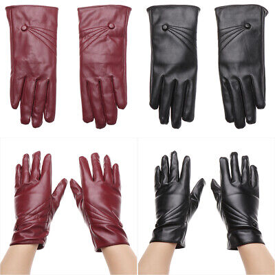 Cool Windproof Punk Cashmere Gloves Touch Screen Mittens PU Leather Gloves