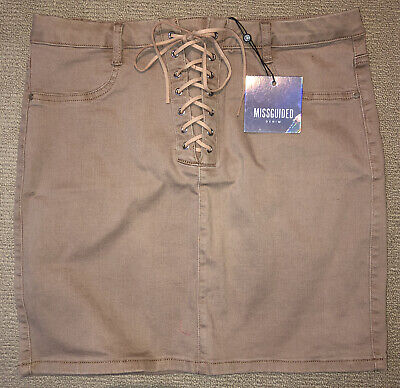 Missguided Denim Lace Up Skirt Size 14 L BNWT