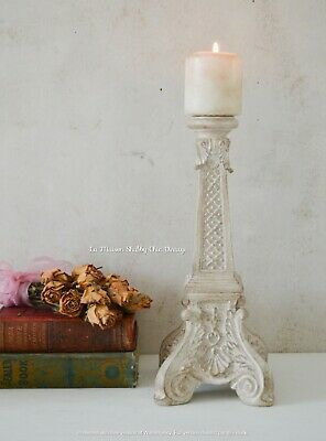 Large Candle Holder French Vintage Hand Painted Shabby Chic Heavy Pillar Candle
