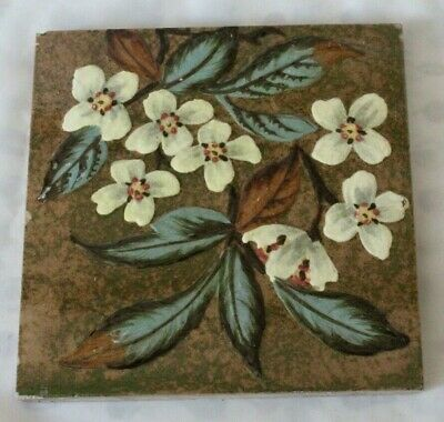 LOVELY sherwin & cotton barbotine FLORAL DESIGN antique PERIOD 6 INCH TILE