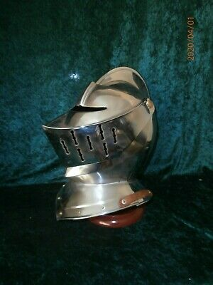 Chrome / Metal Helmet / Shield Full Size Armour. Knight / Warrior Mythical Props