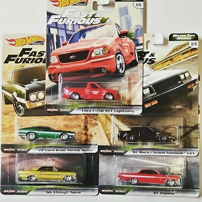 5 Car Set * 2020 Hot Wheels Fast Furious Motor City Muscle Case G * IN STOCK