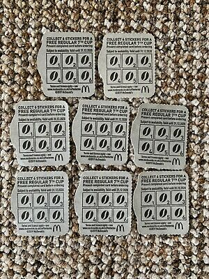 """8 x MCDONALDS BLANK HOT DRINK COFFEE CARDS LOYALTY CARDS """"NO STICKERS"""""""