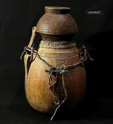Antique Wooden Camel Milk Container With Bowl Lid - Ethiopia