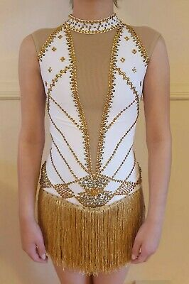 White And Gold Figure Skating Dress Adult Size 4-6 Brand New