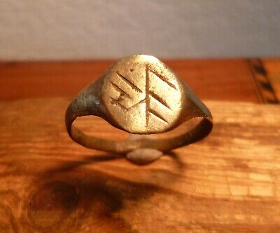 Superb Ancient Romano Celtic Ring With Engravings-Metal Detecting Find