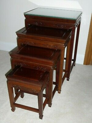 Chinese Solid Wooden Carved Nest of 4 tables.
