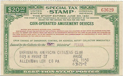 Coin-Operated Amusement Device IRS Tax Stamp 1951 - FREE SHIPPING Ukrainian Club